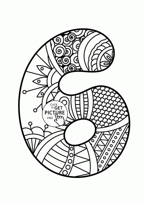 Pattern Number 6 Coloring Pages For Kids Counting Numbers Printable Coloring Pages For