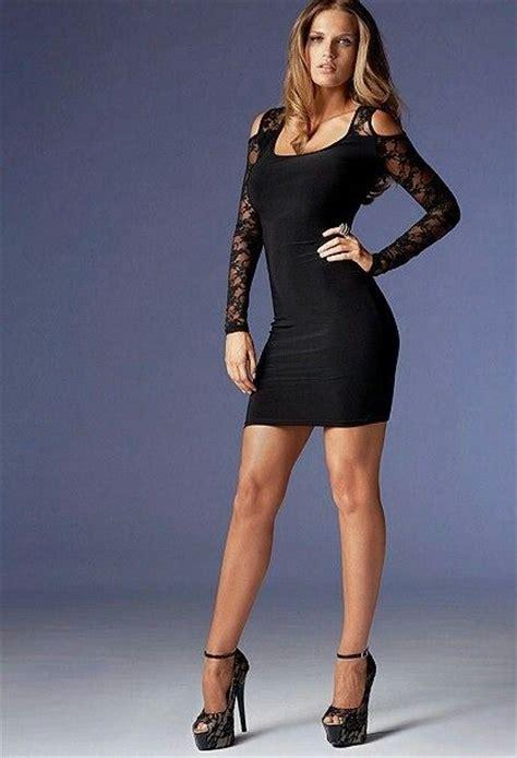 in high heels and dresses black dress and platform high heels black