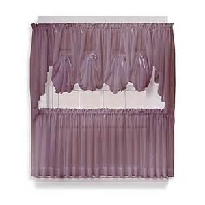 Sheer Tier Curtains Buy Emelia 36 Inch Sheer Window Curtain Tier Pair In Amethyst From Bed Bath Beyond