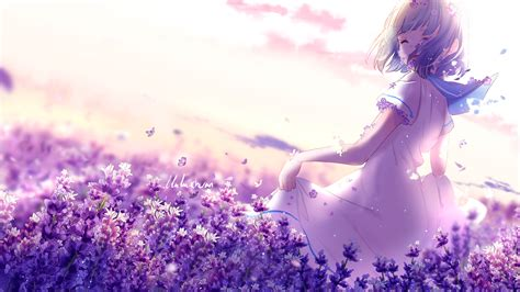purple anime wallpaper anime lavender purple flowers 4k wallpapers
