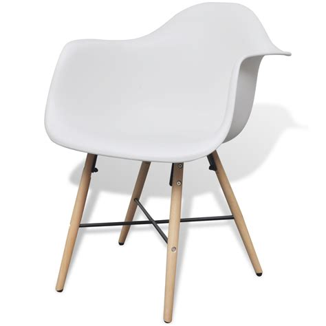 Dining Chair Legs 2 White Dining Chair With Armrests And Beech Wood Legs Vidaxl