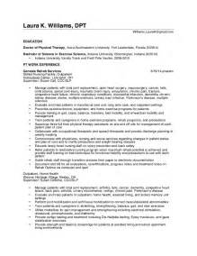 Home Health Physical Therapist Sle Resume by Resume K Williams Dpt 2016