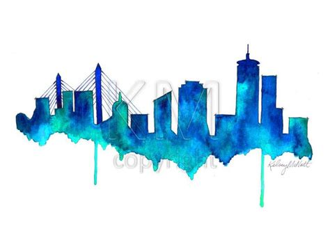 watercolor tattoo artists near boston boston skyline watercolor painting print home decor and