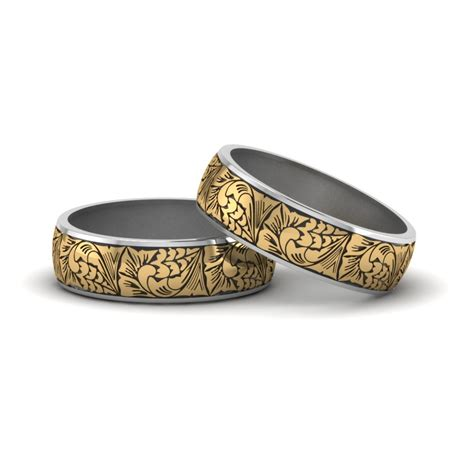 intricate pride wedding rings in 18k yellow gold