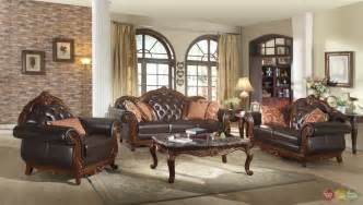 leather livingroom furniture traditional brown button tufted leather living room