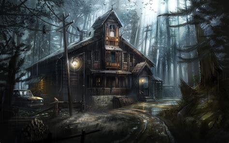 wallpaper forest crows haunted house horror