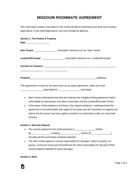 Free Missouri Roommate Agreement Form Pdf Word Eforms Free Fillable Forms Missouri Lease Agreement Template