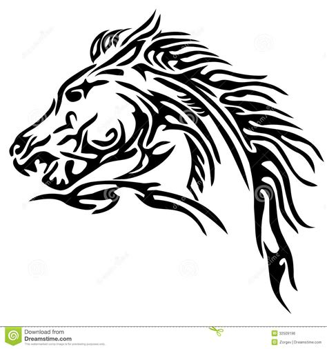 tribal horse tattoo royalty free stock image image 32509196