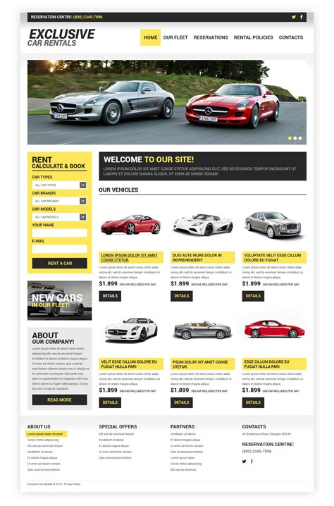 Car Rental Website Template Car Rental Responsive Website Template 48656