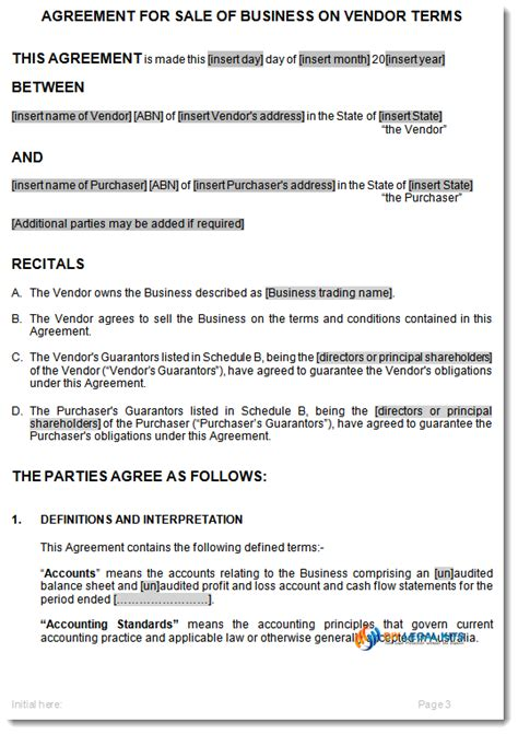 Sale Of Business On Vendors Terms Agreement Template Contract For Sale Of Land Nsw Template