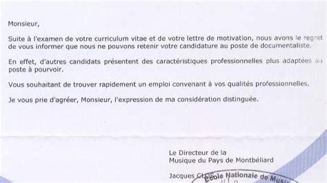 Exemple De Lettre De Réponse Négative à Une Demande D Emploi Lettre Reponse Negative Demande D Emploi Employment Application