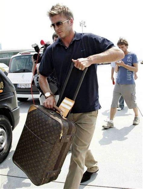 Louis Vuitton David Beckham With His Louis Vuitton Sac Squash And Pegase Luggage david beckham and louis vuitton monogram canvas p 233 gase 60