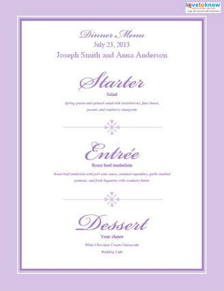 wedding reception menu template free printable wedding menu templates lovetoknow
