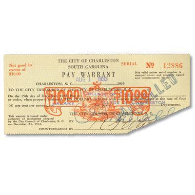 Warrant Search South Carolina 1933 South Carolina 10 Pay Warrant Littleton Coin Company