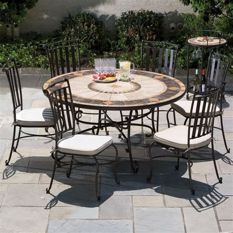 marble patio furniture 60 quot compass marble mosaic dining