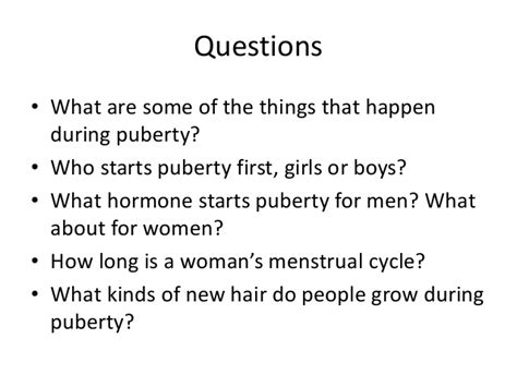 What Is A Or Question For A Boy Puberty