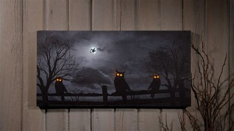 lighted canvas owl o ween radiance lighted canvas x46568
