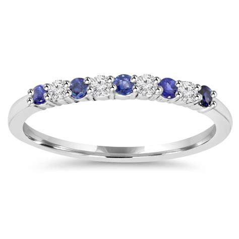 ct blue sapphire diamond wedding ring  white gold