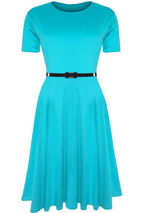 Womens Skater Dress Ladies Belted Cap Sleeve Flared Swing