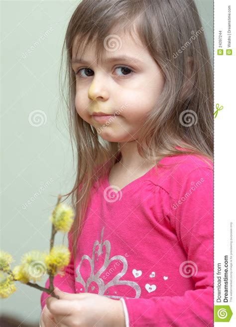 tiny small little girl with willows stock images image 24397244
