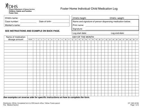 medication spreadsheet template 8 best images of printable medication sheet printable