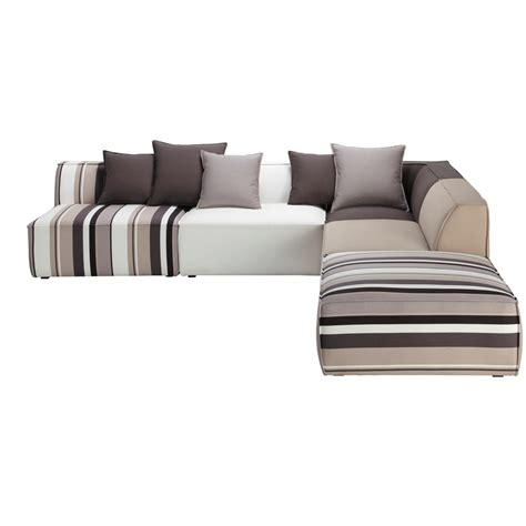 5 seater cotton modular corner sofa striped manhattan