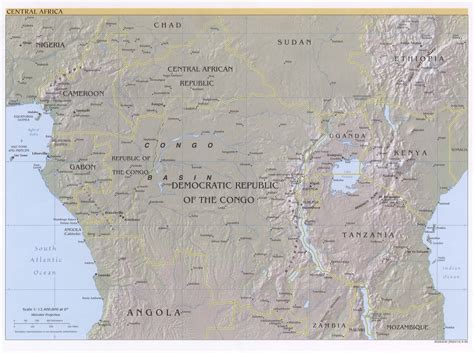 physical map of central africa central africa physical map 1999 size