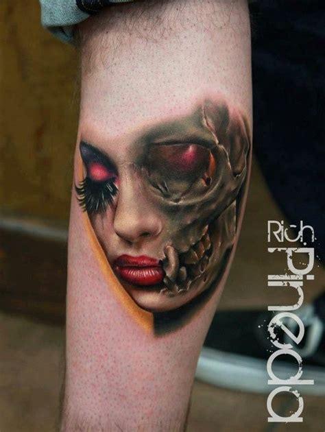 tattoos of women s faces s half and half skull new ideas