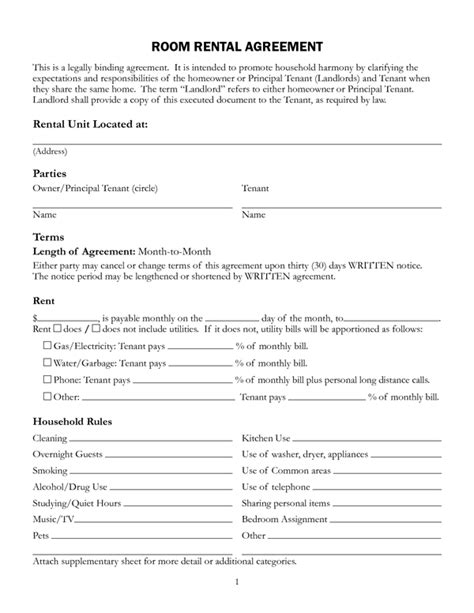tenancy agreement template for renting a room room rental agreement form sle forms