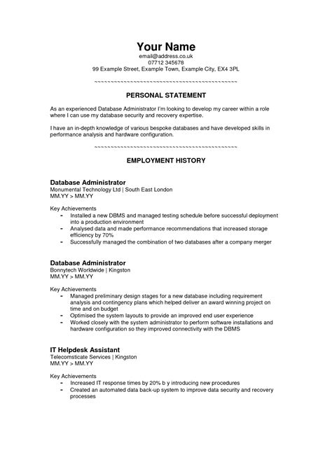 Exle Of A Cv by Exle Of Personal Statement For Resume 28 Images