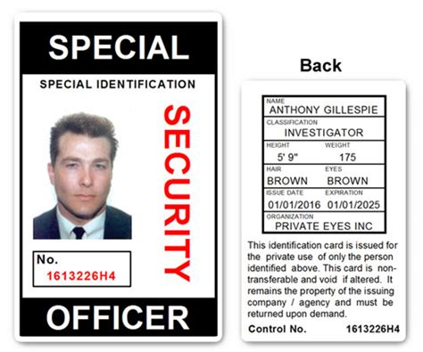 security guard id card template special security officer pvc id card