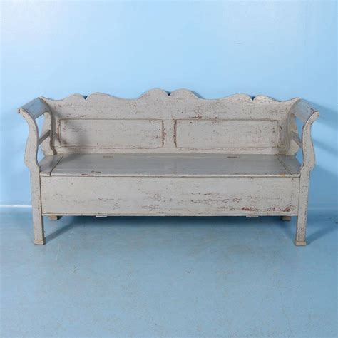 vintage storage bench antique pine storage bench with original grey paint