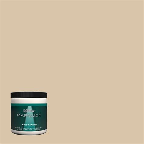 behr marquee 8 oz mq2 23 almond butter one coat hide interior exterior semi gloss enamel paint