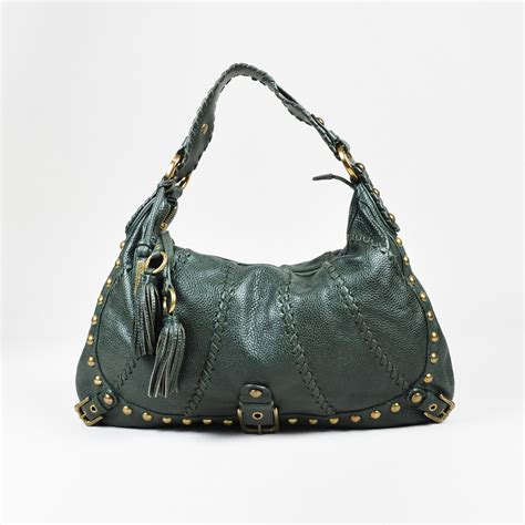 Audra Zipped Purse by Fiore Green Leather Studded Whipstitched Quot Audra
