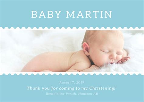 Celebrating Home Interiors blue simple christening card templates by canva