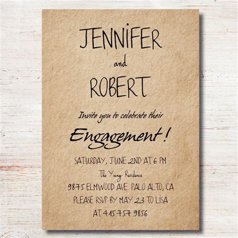 simple rustic personalized engagement party invitation