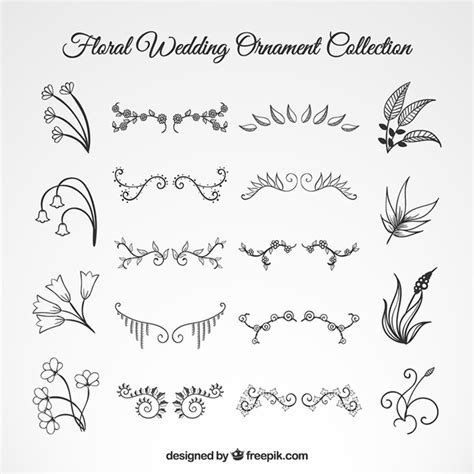 Wedding Font Ornament by Wedding Floral Ornament Set Vector Free
