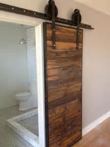 Bathroom Sliding Barn Doors Sliding Barn Door Wood Grey Hemlock