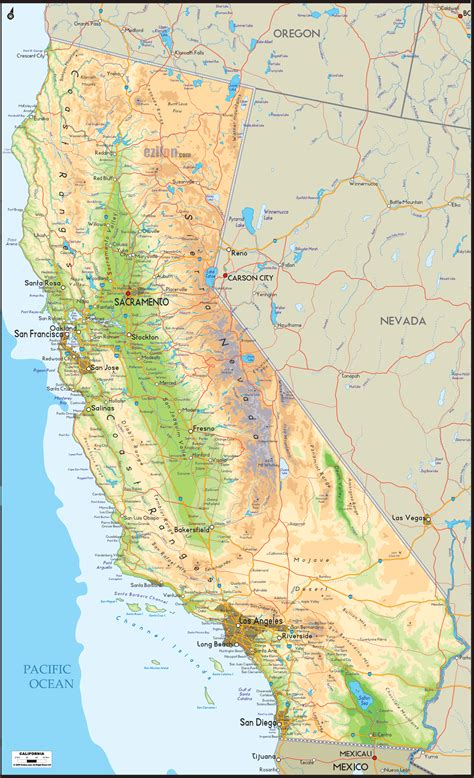 physical map of california ezilon maps