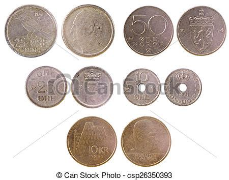 different old coins of norway isolated on white background