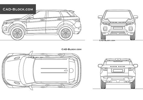 range rover evoque drawing range rover evoque drawings autocad 2d cad model