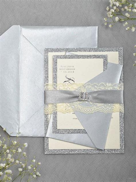 grey and white wedding invitations uk silver glitter wedding invitation lace grey invitation 2218380 weddbook