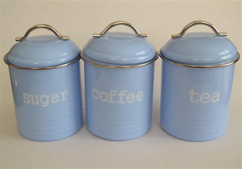 retro kitchen canisters set enamel retro kitchen canisters assorted colours tea coffee sugar set of 3 new ebay