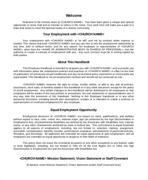 Employee Handbook Template 12 Free Sle Exle Format Free Premium Templates Employee And Policy Template