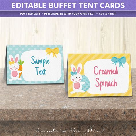 buffet tent cards template free easter food labels printable
