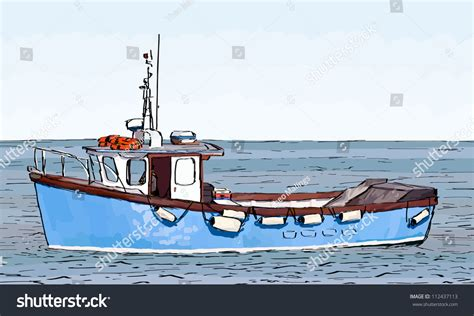boat drawing with colour hand sketched drawing fishing boat sketchy stock