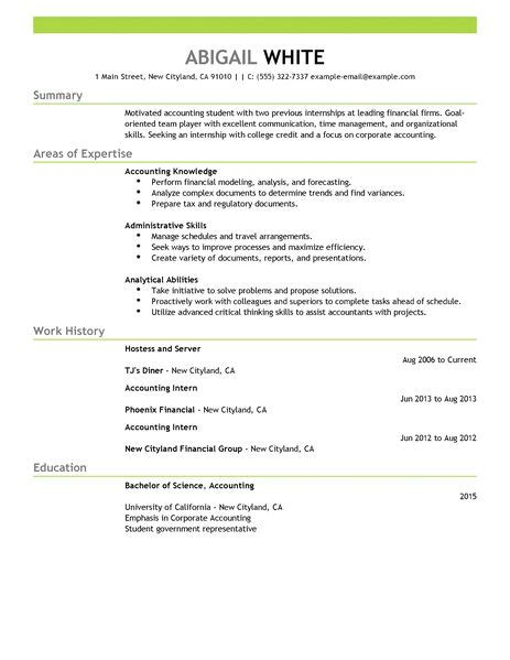 Resume Objective Accounting Internship Best Internship Resume Exle Livecareer