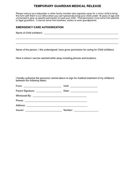 release form template for children permission form for grandparents templates free