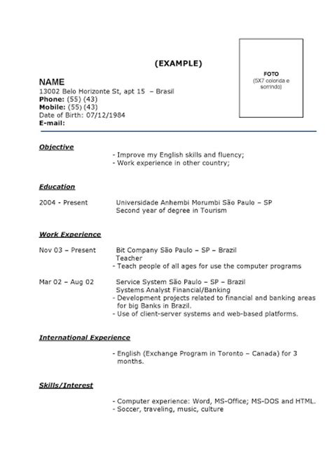 Modelo De Curriculum Vitae Basico Curriculum Vitae Modelos Prontos Exemplos E