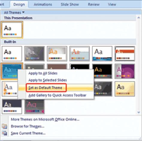 design themes in powerpoint 2007 change the default template or theme in powerpoint 2007